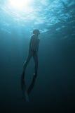 Freediver подводное в San Andres, Колумбии Стоковые Изображения RF