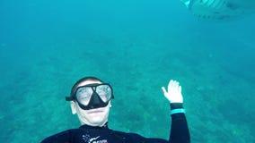 Freediver плавает с большим manta в острословии GOPRO океана сток-видео