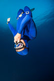 Freediver. Descending with monofin. Free immersion discipline Stock Photography