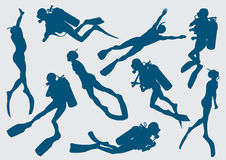 Freediver and diver. Set silhouette of diver and freediver Royalty Free Stock Photography