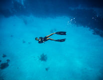 Freediver doing the tumbs up sign in San Andres Colombia Royalty Free Stock Photos