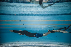 Freediver Dynamic with Monofin Performance from Underwater Stock Image