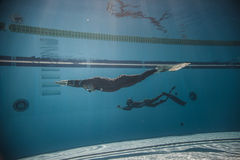 Freediver Dynamic with Monofin Performance from Underwater. MONTREAL, CIRCA JUNE 2014 - Two Hot Spring Days of Freediving Competition at Jean-Drapeau 50m Outdoor stock photos