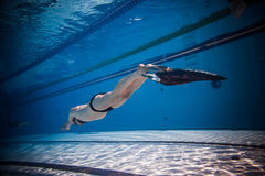 Freediver Dynamic with Monofin Performance from Underwater Royalty Free Stock Image