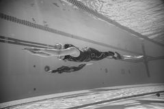 Freediver Dynamic with Monofin Performance from Underwater. MONTREAL, CIRCA JUNE 2014 - Two Hot Spring Days of Freediving Competition at Jean-Drapeau 50m Outdoor stock images