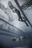 Freediver Dynamic with Monofin Performance from Underwater Stock Photo