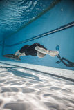 Freediver Dynamic with Monofin Performance from Underwater Royalty Free Stock Photo