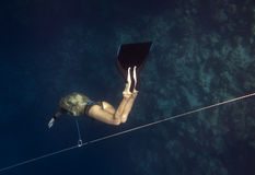 Freediver goes down by line Stock Photos