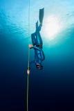 Freediver no mar imagens de stock royalty free