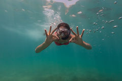 Freediver showing ok sign Royalty Free Stock Photography