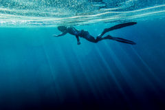 Freediver swim in the sea. Freediver in wetsuit neoprene swim in the sea Stock Image