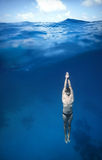 Freediver Underwater in San Andres, Colombia Royalty Free Stock Images