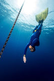 Freediver. Underwater shot of the free diver in monofin descending along the metal chain. Constant weight discipline stock photo
