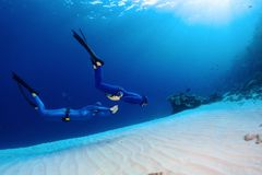 Freedivers in the sea. Two freedivers finning over the sandy sea bottom Royalty Free Stock Photo