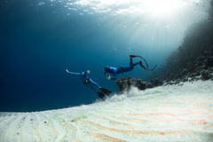 Freedivers in the sea Stock Images