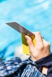 Freediving白色卡片结果 免版税库存图片