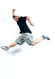 Freedom 1. Asian guy jumping for fun Royalty Free Stock Photography