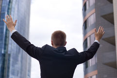 Freedom. Business man - arms outstretched Royalty Free Stock Images