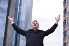 Freedom. Business man - arms outstretched Stock Photography