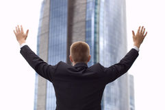 Freedom. Business man - arms outstretched Royalty Free Stock Photo