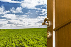 Freedom. Open door to green field and blue sky Royalty Free Stock Image