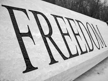 Freedom. A table with the word freedom in black and white Royalty Free Stock Photos