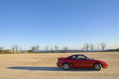 Freedom. Red 2-seater sports car royalty free stock images