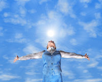 Freedom. A young woman with arms stretched out to the sky stock illustration