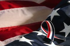 Freedom. American flag with ribbon royalty free stock photography