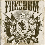 Freedom. Old and vintage design with scrached text Royalty Free Stock Photography