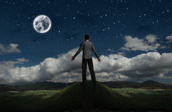 Freedom. Man facing a great panorama, concept of freedom, future, life Royalty Free Stock Photos