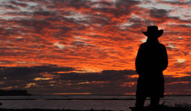Cowboy on a lake at sunset. In australia stock images