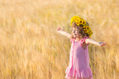 Freedom. Happy child in wheat field. Freedom concept Stock Photo