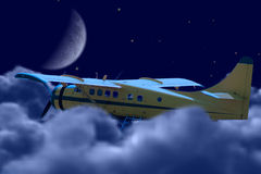 Freedom. A small plane flying above the clouds at night, symbolizing freedom Royalty Free Stock Photo