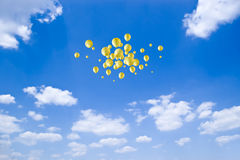Freedom. Group yellow balloons no blue sky Stock Photos
