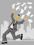 Freedom. Office worker throw away his paperwork Royalty Free Stock Photos
