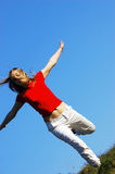 Freedom. Woman run over a grass field...moment of happiness Royalty Free Stock Photos