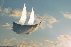 Freedom. A boat flying trough the sky Stock Photos