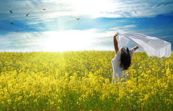 Freedom. Young woman in rape field with shawl Royalty Free Stock Image