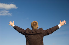 Freedom. Business man - arms outstretched Stock Photos