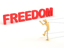 Freedom. A 3d image of puppet which trying to achieve it's freedom Stock Photo