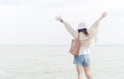 Free Freedom And Happiness Woman At Dam With Soft Light. Stock Photography - 84269992
