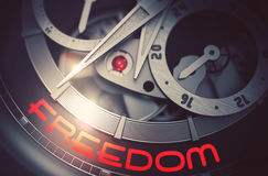Freedom on Automatic Men Watch Mechanism. 3D. royalty free illustration