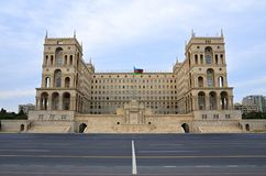 Freedom`Azadlig` Square in Baku.Government House and Council of Ministers royalty free stock image