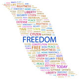 FREEDOM. Background concept wordcloud illustration. Print concept word cloud. Graphic collage Stock Image