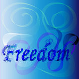 Freedom. Blue background with text - freedom, vector illustration Stock Images