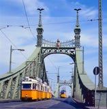 Freedom Bridge, Budapest, Hungary with tram Stock Photography