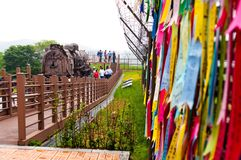 Freedom bridge ribbons in South Korea stock photos
