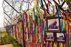 Freedom bridge ribbons in South Korea stock photo