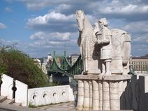Freedom Bridge and statue of St. Stephen royalty free stock photography